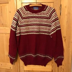 Vintage Pendleton sweater fair isle wool red